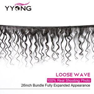 Image 2 - Yyong Hair Peruvian Loose Wave 3 Bundles Human Hair With Lace Closure 4*4 Lace Closure With Bundles Natural Color Remy Hair