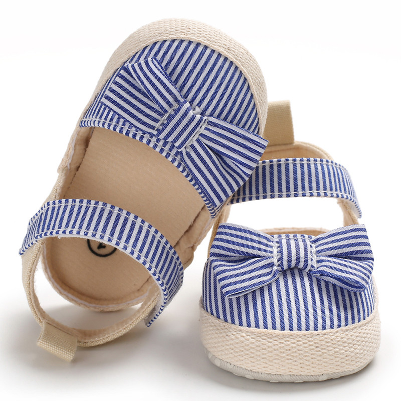 Top Quality Canvas Baby Girls Sandals Kids Black Blue Pink Striped Baby Girls Shoes Toddler Cute Bow Tie Soft Shoes Baby Sandals