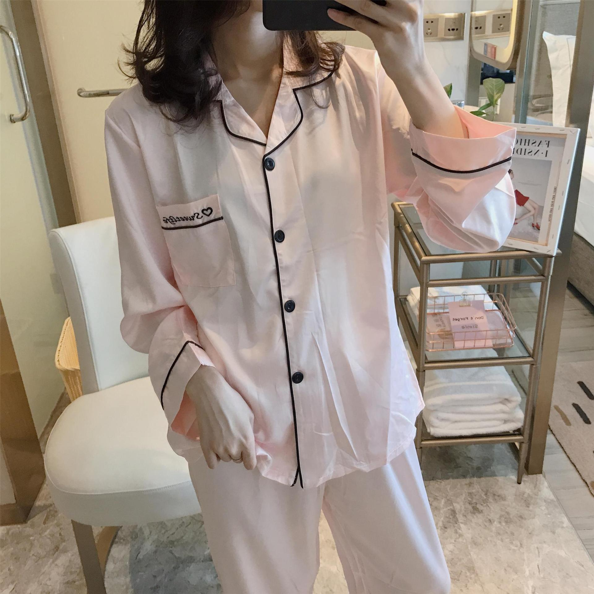 Pajamas Spring And Autumn Long Sleeve Silk Thin Women's Viscose Casual Viscose-Outer Wear Summer Men Autumn Clothing