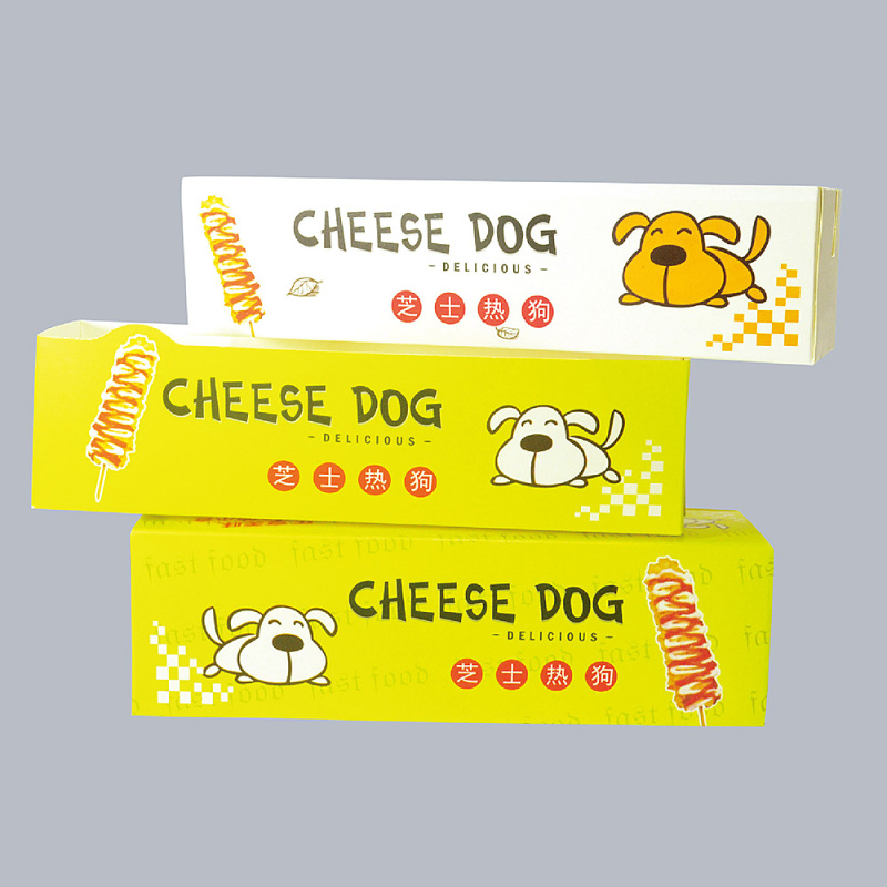 20PCS Brushed Cheese Hot Dog Stick Boxes Paper Tray Home Kitchen Dining Bar Supplies