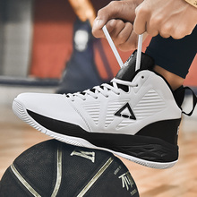 купить 2019 New Men High-top Cushioning Sneakers Leather Breathable Profession Basketball Shoes Outdoor Non-slip Wear Sports Shoes дешево