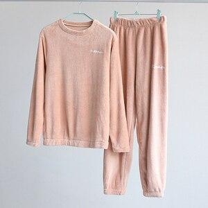 Winter Flannel Pajama Set Women Fleece Pajamas Sleepwear Homewear Clothing Velvet Female Lounge Wear Autumn Nightwear Suits