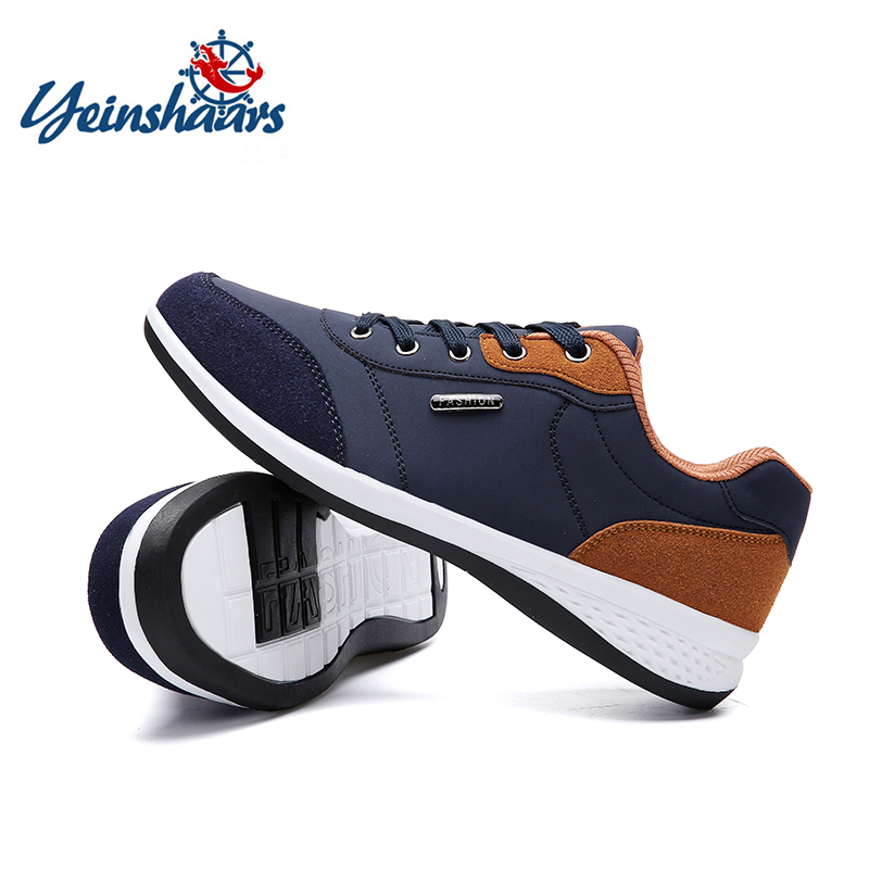 YEINSHAARS Spring Autumn New Men Shoes Lace-Up Men Fashion Shoes Microfiber Leather Casual Shoes Brand Men Sneakers Men FLats