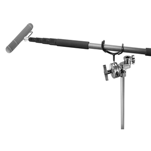 """Image 4 - Boompole Holder 3 1/2"""" Stainless Steel Shaft Hands Free Coated Boom Pole Holder Fits on C Stands Mic Stands Fixed Postion"""