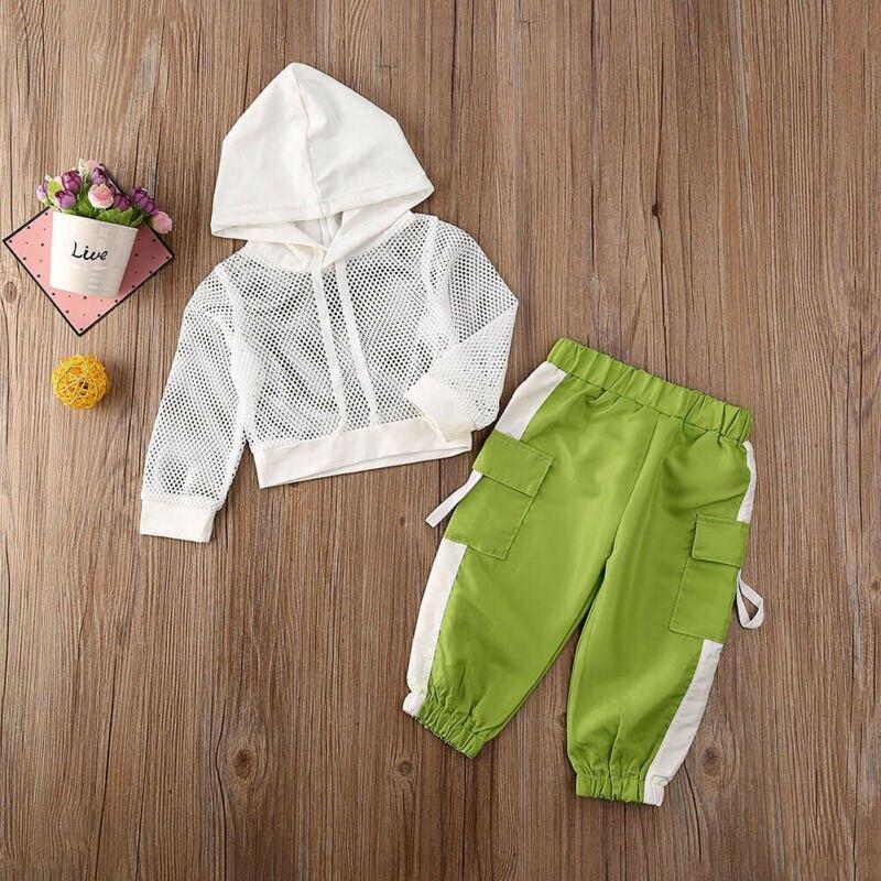 2020 детская одежда для маленьких девочек сетчатые топы с длинными рукавами и капюшоном + длинные штаны комплекты из 2 предметов летняя спорти...