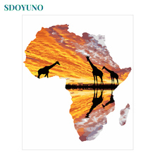 SDOYUNO Pictures By Numbers Africa 60x75cm Painting By Numbers DIY Frameless on canvas For Home Decor Digital Painting
