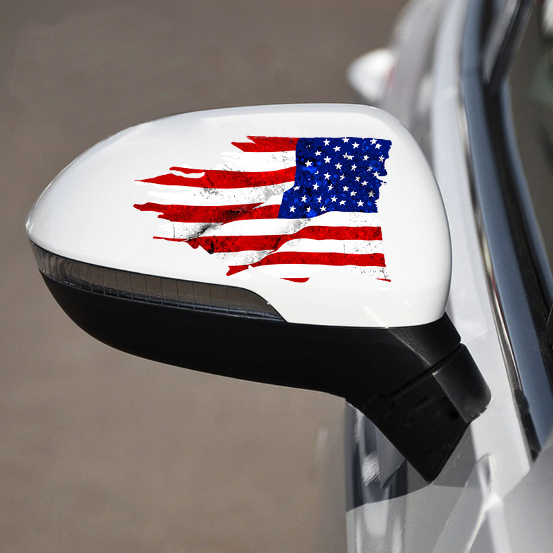 15.2*8.9CM American Flag  Rearview Mirror Car Sticker 3D Tattered Flag Waterproof Car Body Styling Rearview Mirror Accessories