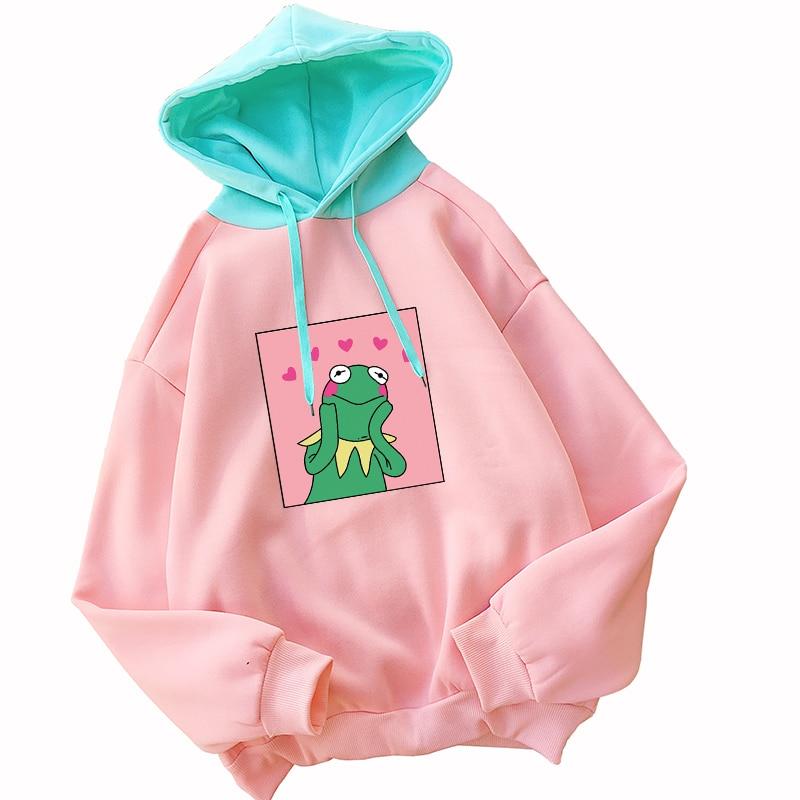 Autumn Winter New Women Kawaii Frog Cartoon Print Hoodies Casual Streetwear Loose Funny Contrast Color Spliced Fleece Sweatshirt