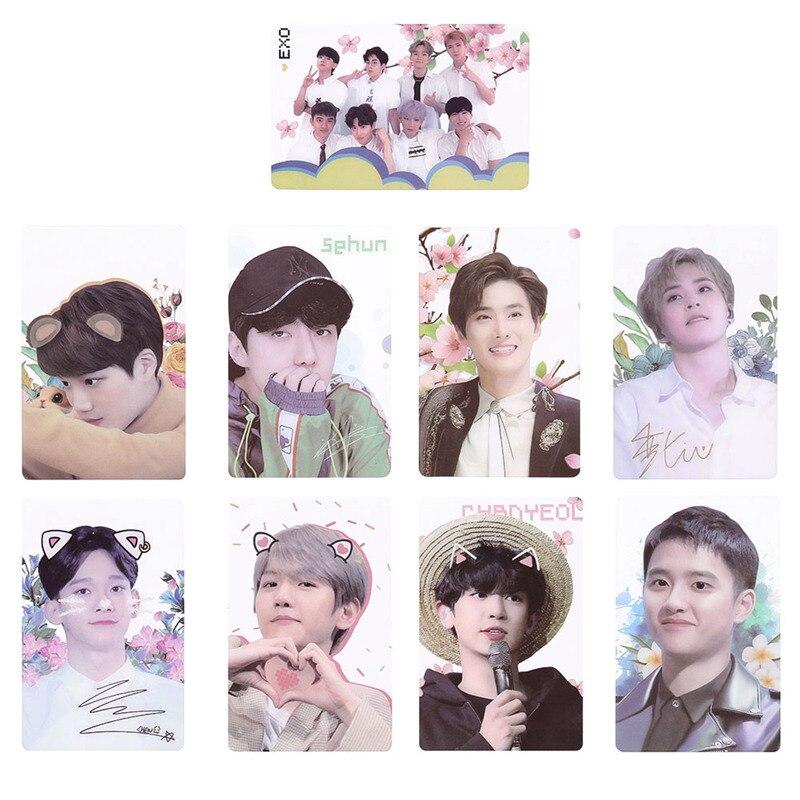 9pcs/set EXO Sehun PVC Clear Lomo Photo Cards HD Collective Photocard Fans Gift  Self Made Photocard