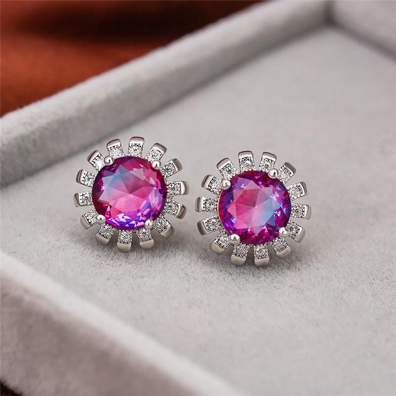 Fashion Gradient Rainbow Zircon Sun Flower Stud Earrings Silver Color Multicolor CZ Stone Earrings for Women Party Jewelry