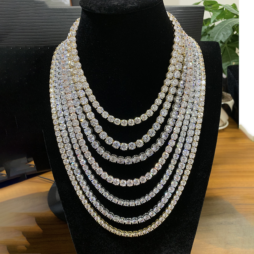 """5mm Rock Hip Hop Zirconia Tennis Chains Bling Iced out Cubic Necklace Men women Jewelry Crystal Choker Ketting Sieraden 18""""  20"""" 1"""