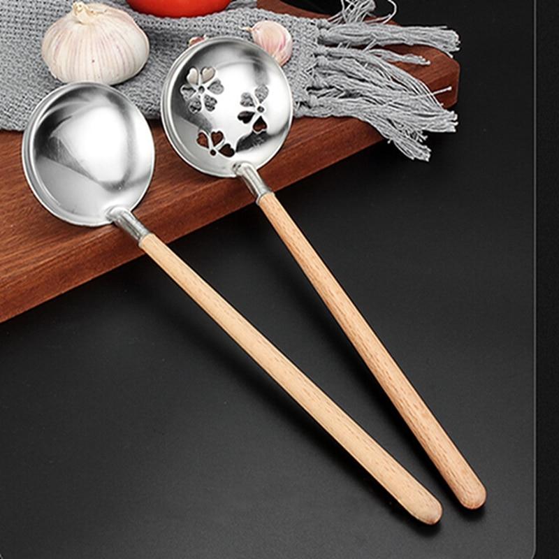 Wooden Handle Wok Spatula 304 Stainless Steel Spatula Cooking Utensils Spoon Long Handle Large Size Turner Fried Steak Shovel
