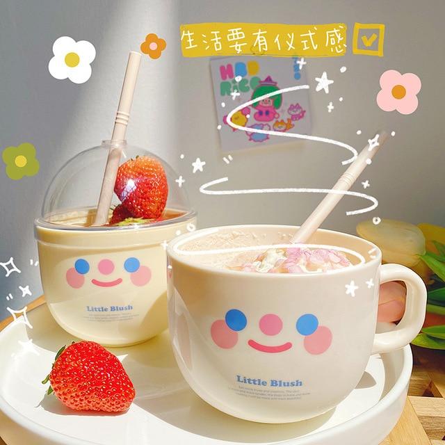 Creative water cup with starw  portable plastic mug cute drinkware breakfast milk coffee juice kawaii bottle for girls HT62# 1