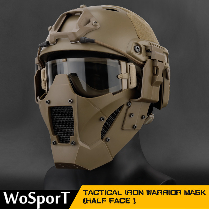Hunting Protection Mask Half Face Breathable Military Tactical Mask Hunting Airsoft Paintball CS Game Mask For Helmet Connector