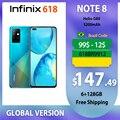 Infinix Note 8 Смартфоны 6 ГБ 128 6,95 ''HD + Дисплей 5200 мА/ч, Батарея 18 Вт быстрый заряд спирально G80 Octa Core глобальная версия телефон дешёвый на андроид