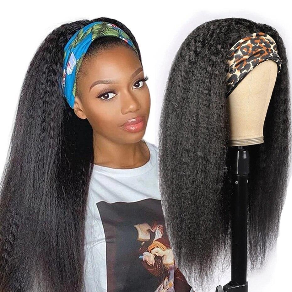 Perucas de cabelo humano perucas de cabelo humano malaio kinky em linha reta perucas de cabelo humano para as mulheres máquina feita peruca 150% glueless cachecol perucas remy