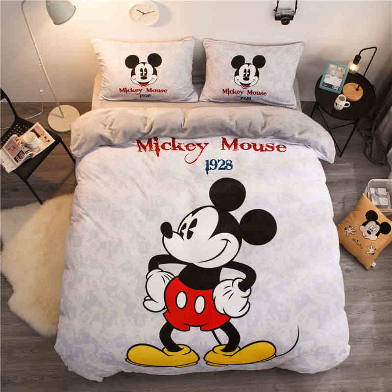 Disney Mickey Mouse flannel fleece comforter bedding sets Queen