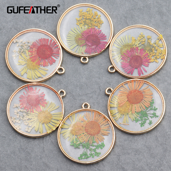 GUFEATHER M650,jewelry accessories,diy pendants,hand made,resin dried flower,copper metal,diy earrings,jewelry making,10pcs/lot