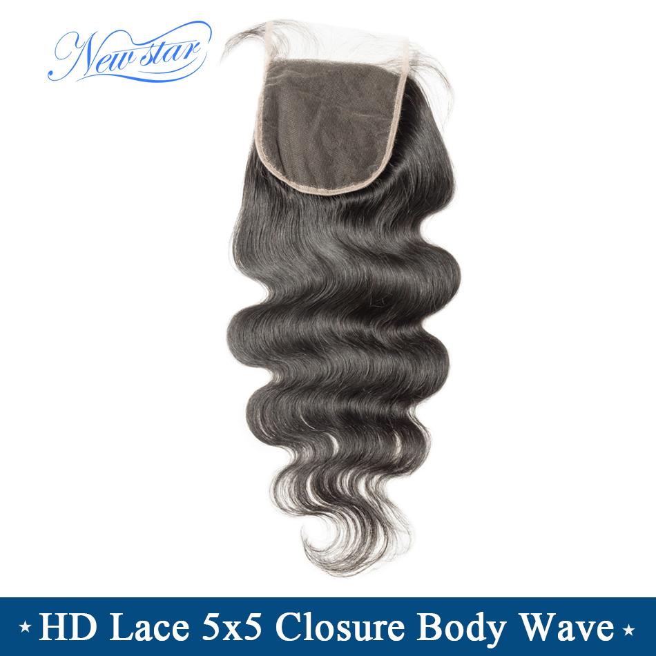 HD Lace 5x5 Closure Brazilian Body Wave New Star Virgin Hair HD Lace Free Part Closure