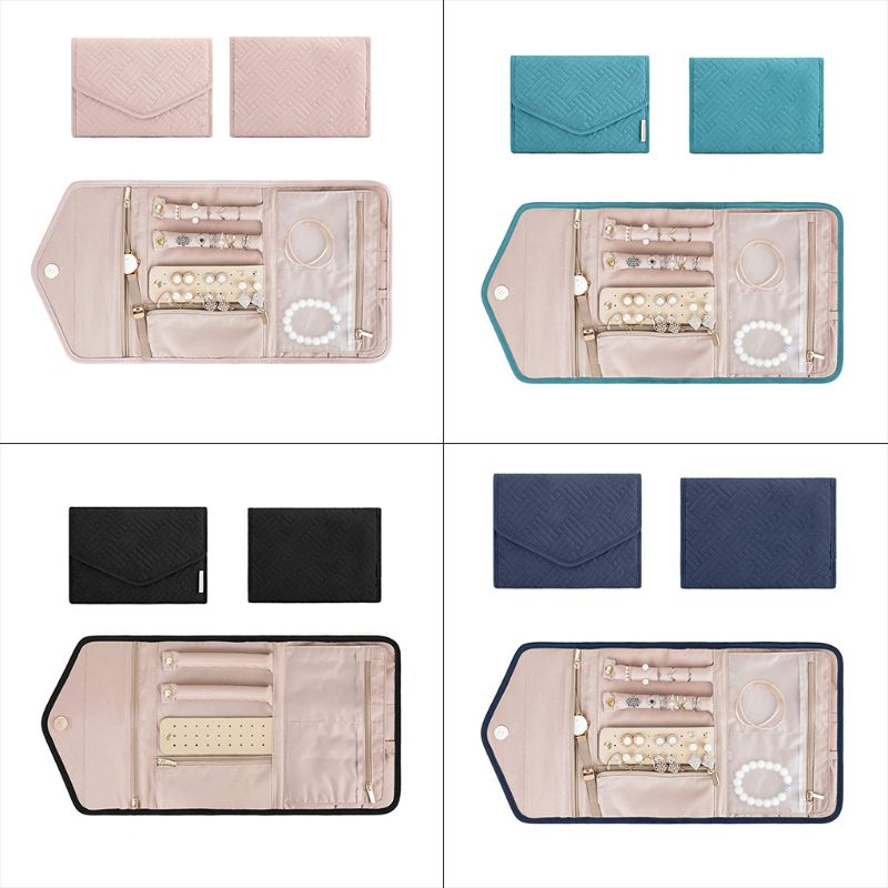 Travel Jewelry Organizer Roll Foldable Jewelry Case For Journey-Rings Necklaces