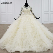 HTL1202 웨딩 드레스 2020 새로운 럭셔리 레이스 위로 계층화 된 신부 드레스 웨딩 Appliques 긴 소매 Vestido Novia Sirena Encaje