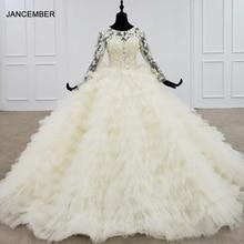 HTL1202 งานแต่งงานชุด 2020 ใหม่ Luxury Lace Up กลับชั้นชุดเจ้าสาวงานแต่งงาน Appliques แขนยาว Vestido Novia Sirena Encaje