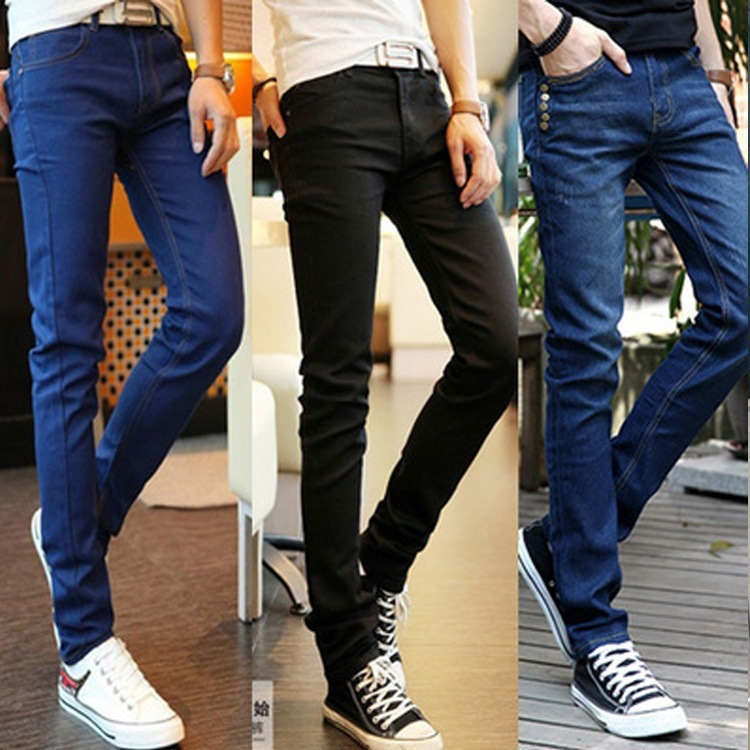Cheap Booth Goods Color Cowboy Trousers Korean-style Versatile Men Cool Skinny Pants Fashion Capri Pants Sub-Fashion