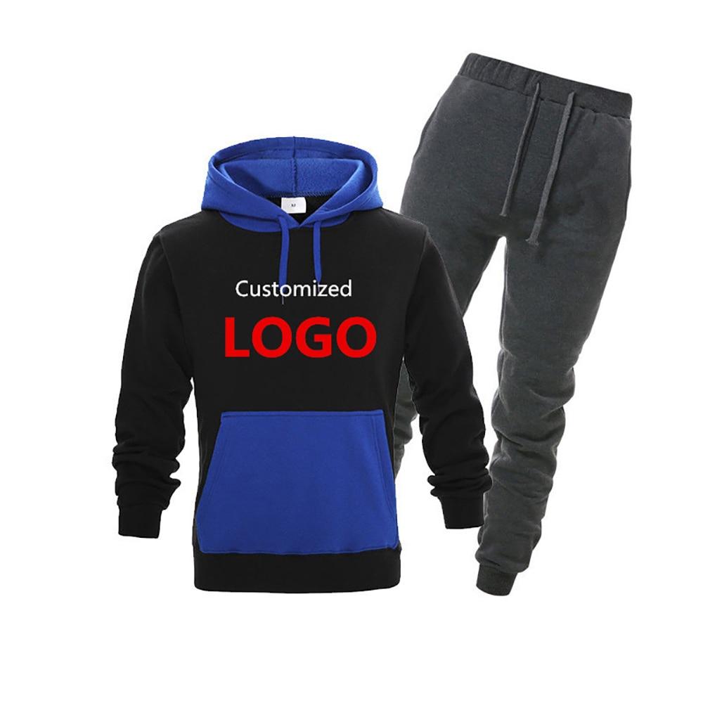 OIMG 2Pcs Set Men's DIY Hoodies Splice Sweatsuit Print Your Own Design Customize Logo Text Image Sweatshirts Couple Tracksuit
