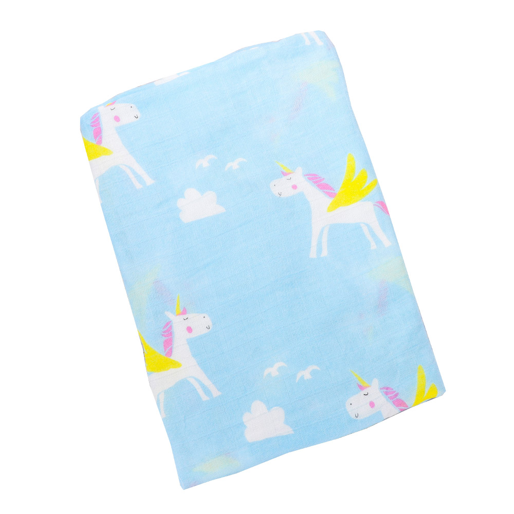 Muslin Cotton Baby Blankets Multifunction Newborn Soft Swaddles Wrap Cartoon Unicorn Print 2 Layers Muslin Blankets Play Mats