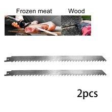 2 pçs 300mm ferramentas de lâminas de corte reciprocating aço inoxidável sabre viu lâminas conjunto gelo e frozens carne lâmina grau alimentício