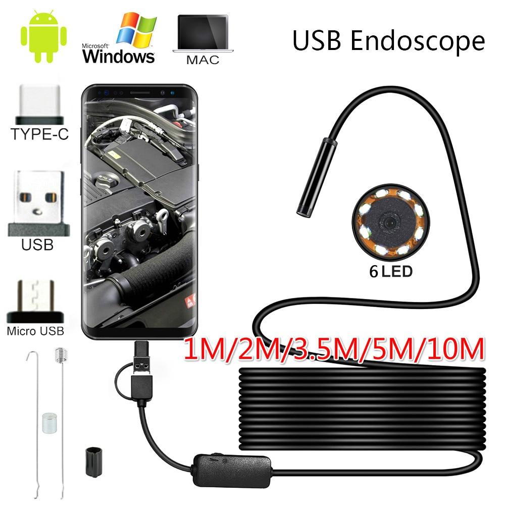 Эндоскоп с объективом 10 м, 5,5 мм, HD, IP67, 1 м, 2 м, 5 м