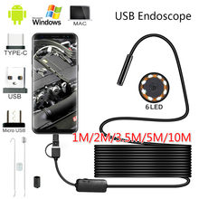 10M 5.5mm lens kamera endoskop HD IP67 1M 2M 5 M sert tüp mikro USB tipi tip-c Borescope Video muayene Android endoskop için