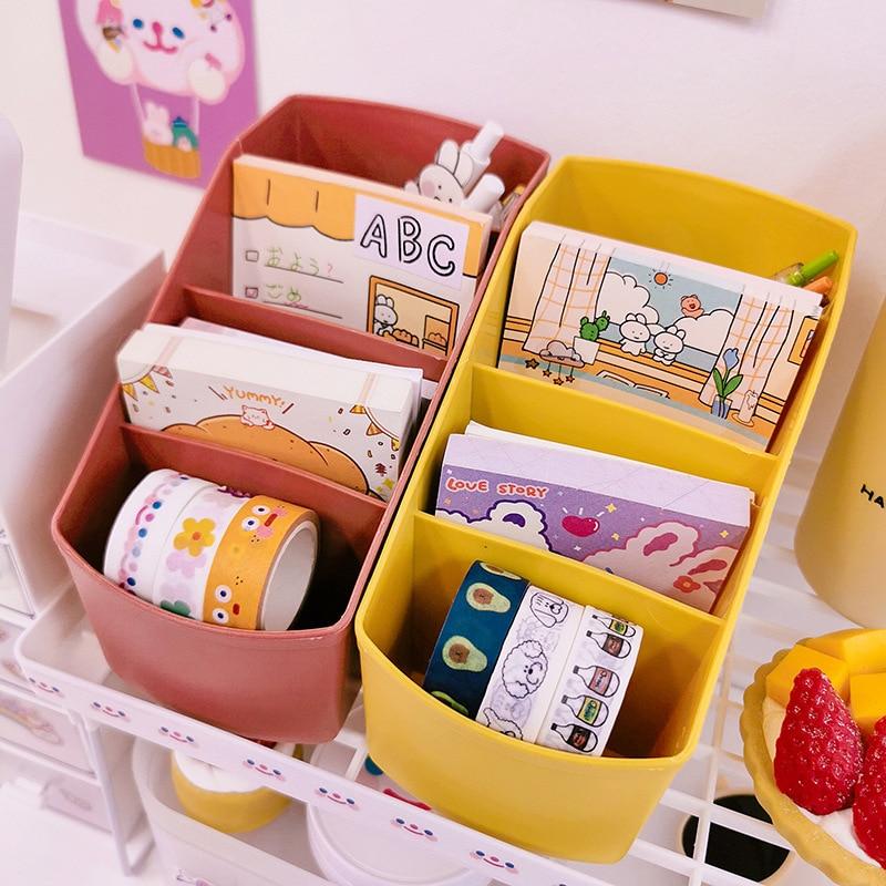 Kawaii desk transformation Korean desktop storage box pen holder makeup brush storage rack office supplies organizer