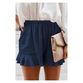 High Waist Women Short Stacked Sweatpants Fabric Leisure Summer Casual Comfort Loose Lotus Leaf Shorts Beach Cool