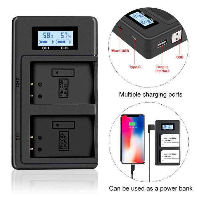 PALO LP E17 LP E17 LPE17 LCD USB Double Chargeur pour appareil photo Canon EOS 200D M3 M6 750D 760D T6i T6s 800D 8000D Baiser X8i Caméras