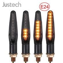 Justech 4 pçs transformar luzes e-marcado universal fluindo à prova d9 água motocicleta 9 led indicador de sinal de volta lâmpada de luz âmbar 12v