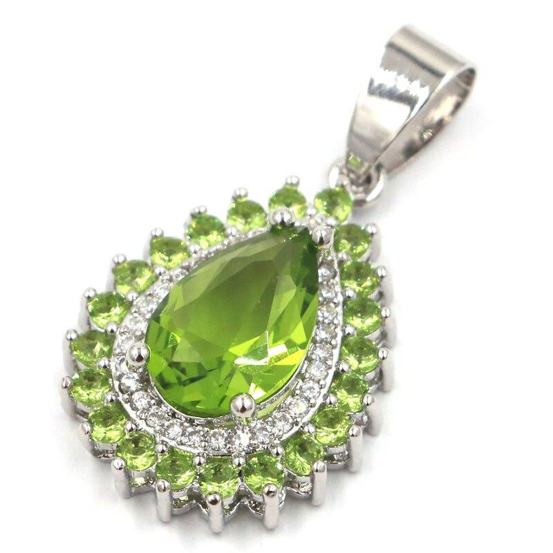 31x17mm Fantastic Drop Shape Green Peridot CZ Ladies Engagement Silver Pendant