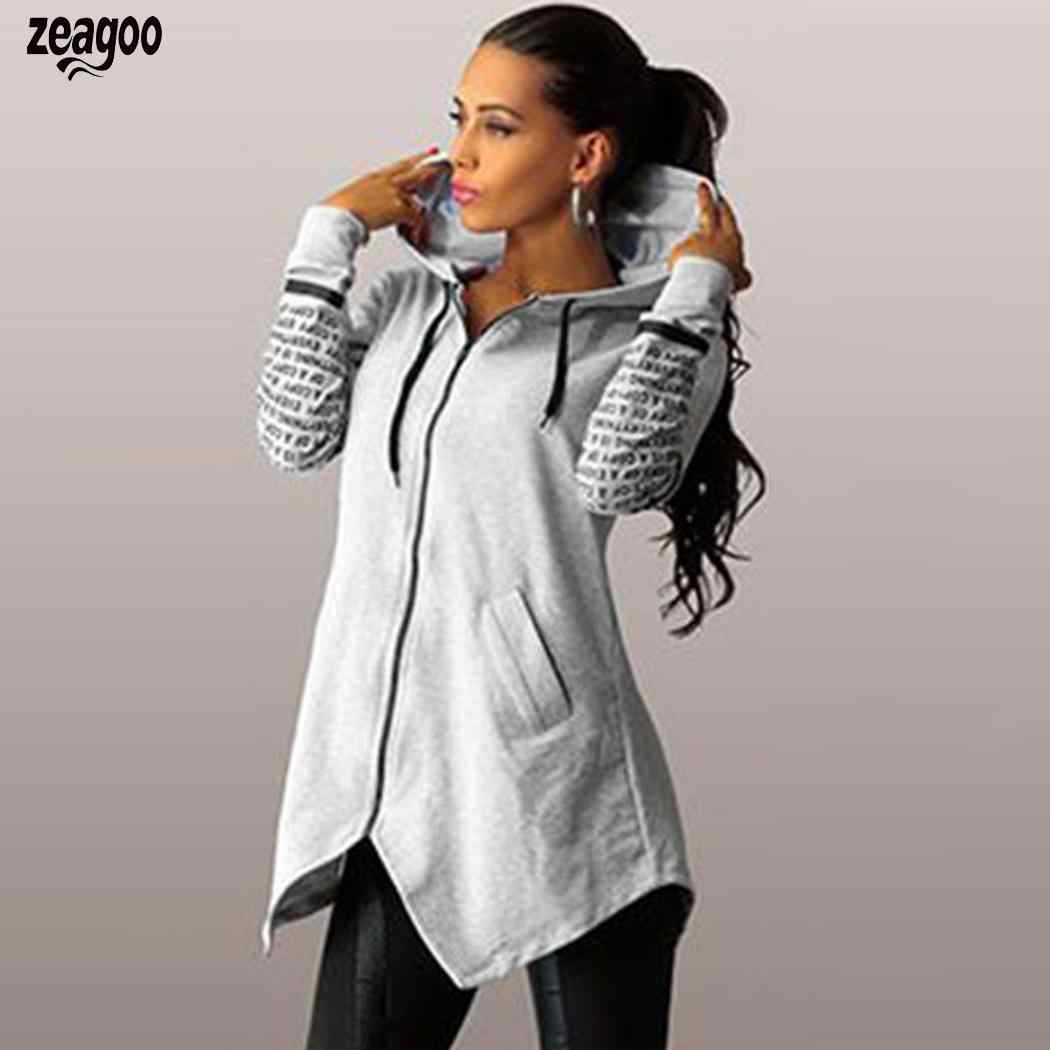 Mode Frauen Mit Kapuze Brief Print Zip Up Asymmetrische Saum Sweatshirt Hoodie