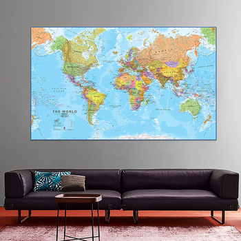 60x90cm The World Political Map Revised 2009 Maps International Office/School Wall Decor Canvas Painting World Map Poster world in maps