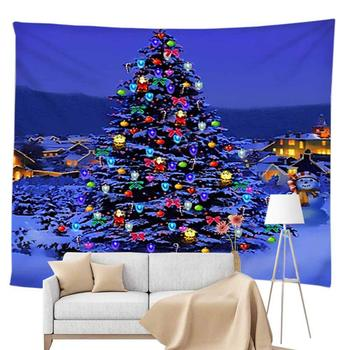 Christmas Tree Snowman Snow Ground Houses Light Up with Decor Lights Winter Scene Tapestry