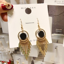 S925 white ear hook female super fairy temperament Korean simple gold tassel earrings personality exaggerated