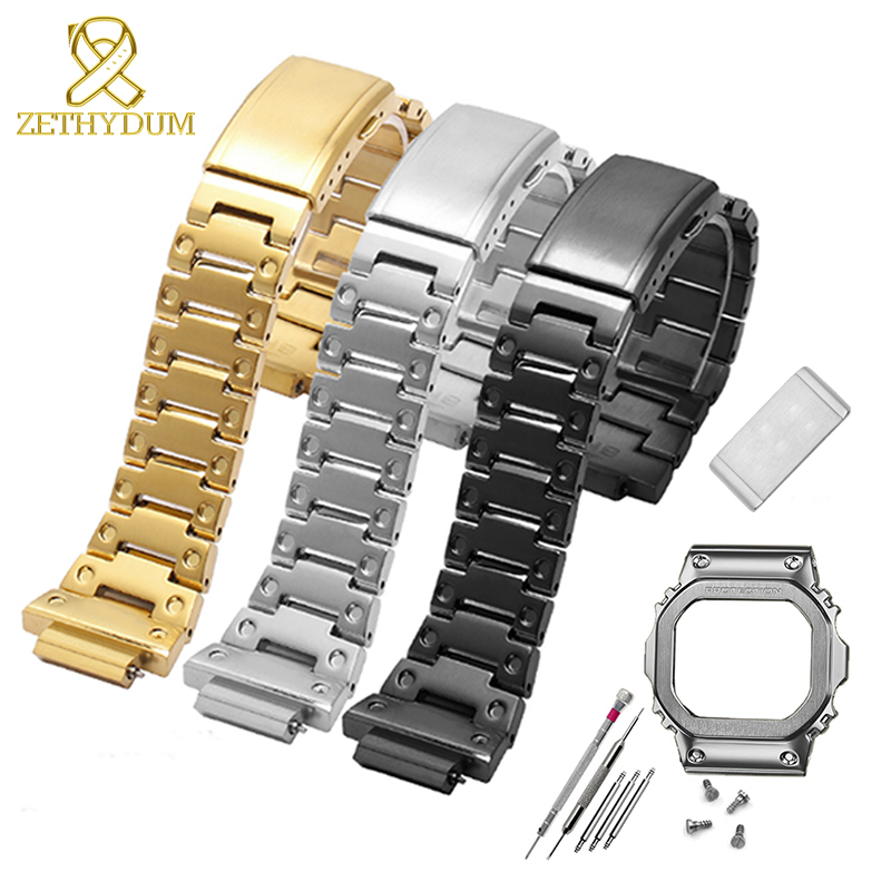 316L stainless steel <font><b>watchband</b></font> bezel/case for <font><b>g</b></font> <font><b>shock</b></font> band GW-M5610 DW5600 <font><b>G</b></font>-5600E GW-B5600 watch metal strap with tools gift image