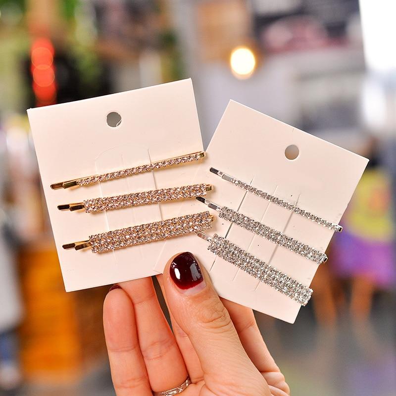 Pinces à cheveux géométriques pour femmes, 3, pièces/ensemble, mode, cristal, or, argent, épingle à cheveux, coiffure, fête, élégant, accessoires pour cheveux