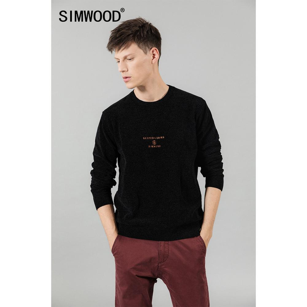 SIMWOOD 2019 Autumn Winter New Letter Print Logo Sweater Men Casual Pullovers Plus Size Soft Brand Clothing Knitwear SI980631