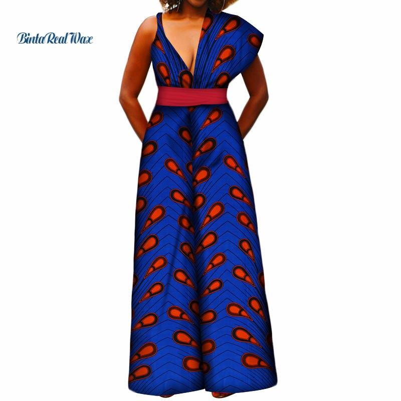 Mode femmes conception africaine impression combinaison col en v asymétrique épaule large pantalon combinaison femmes vêtements africains WY3391
