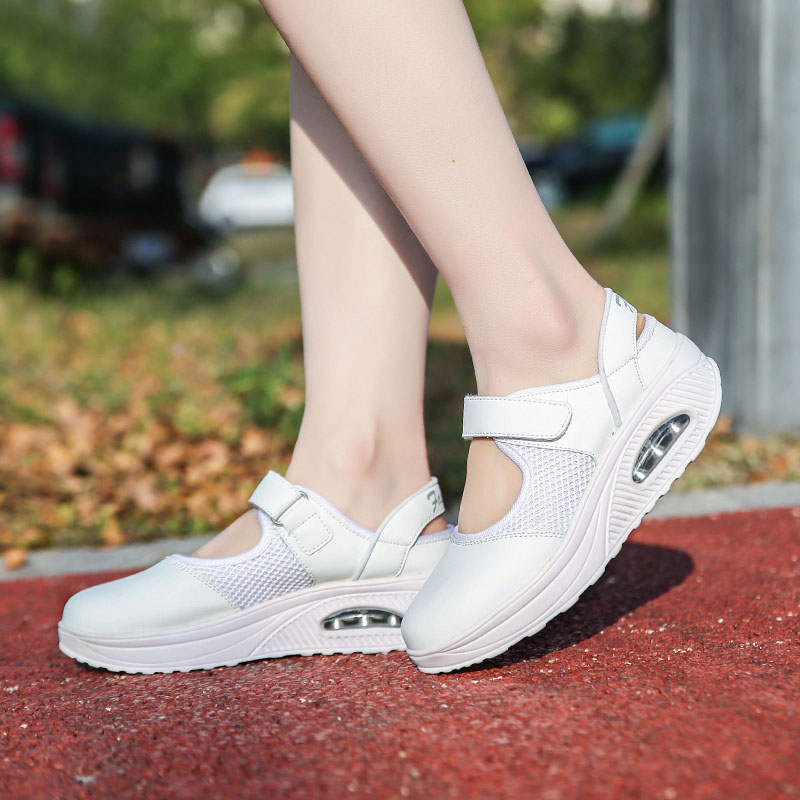 LIN KING Big Size 42 Women Swing Shoes Breathable Shallow Sneakers Wedges Casual Shoes Comfortable Thick Sole Nurse Work Shoes