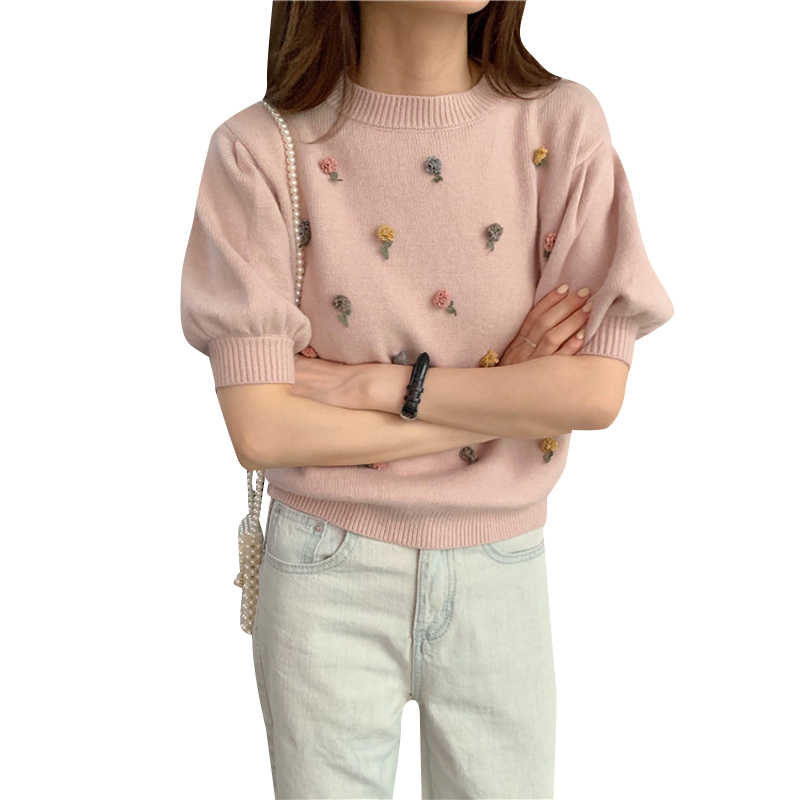 Neploe 3D Floral Pullover Malhas Curto Puff Luva O Pescoço Camisola 2020 Outono Coreano Chic Pull Jumpers Mulheres Knit Tops 54758