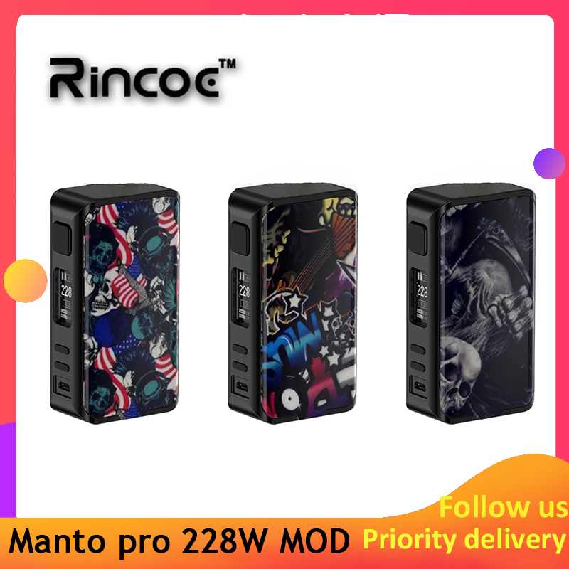 New Arrival Original Rincoe Manto Pro Box MOD 228W E-cig Vape Mod Power By 18650 Batteries Vs Cigpet Capo/ Dovpo Mvv