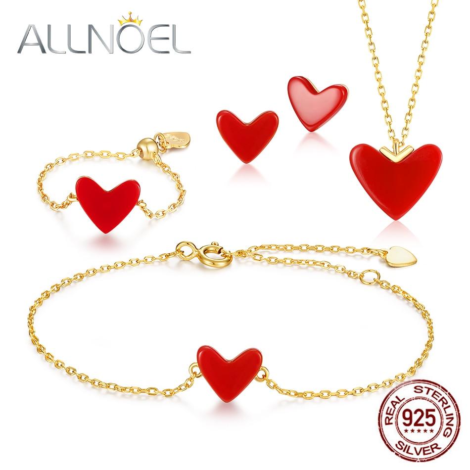 ALLNOEL solide 925 en argent Sterling ensemble de bijoux pour femmes coeur corail pierre précieuse véritable plaqué or anneau Bracelet collier boucles d'oreilles