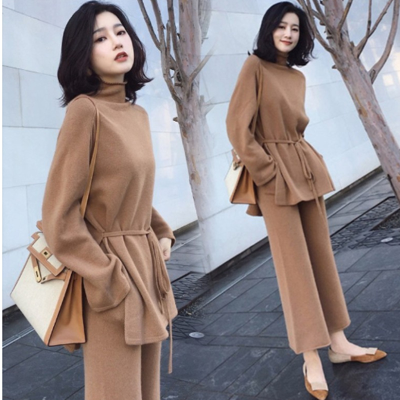 2019 Autumn Plus Size Women Knitted Sweater 2 Piece Set Solid Top+Wide Leg Pants Two Piece Outfits Ladies Fashion Brown Clothing
